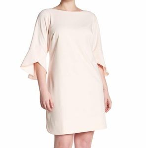 NWT Vince Camuto Seamed Solid Ruffle Sleeved Dress